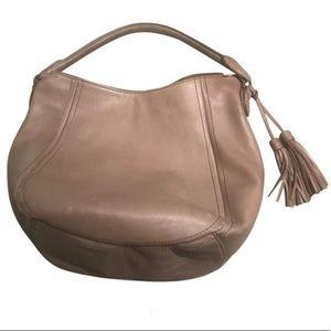 J. Crew Taupe Leather Shoulder Bag with Tassels